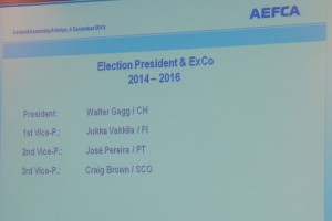 Results of the Election - President of the AEFCA 2014-2016